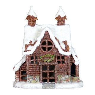 Exhart Multicolored Resin 12.5-inch LED Holiday Cottage with Timer