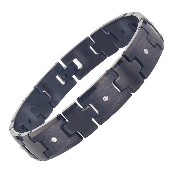 Men X27 S Black Tungsten Diamond Bracelet By