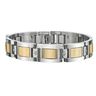 Men's Yellow Stainless Steel Diamond Bracelet