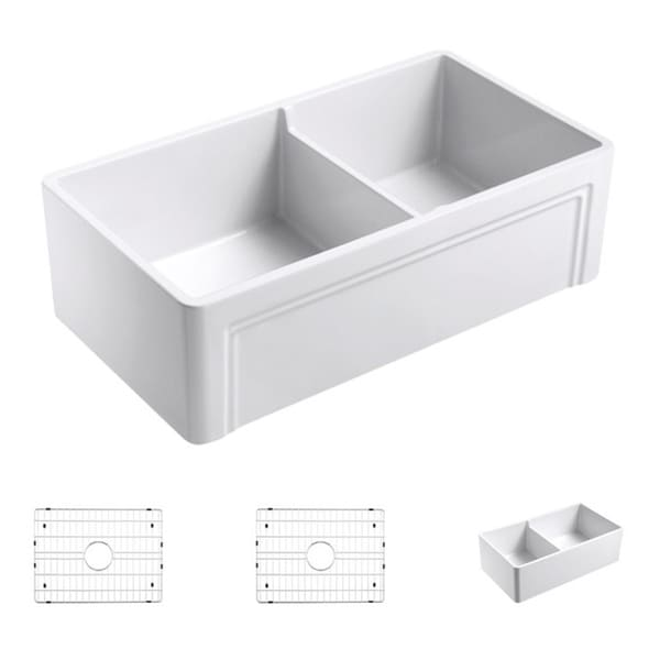 33 Inch Farmhouse Sink White : Olde London White Fireclay 33-inch x 18-inch Casement Edge Front ...
