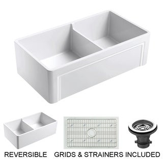 "Olde London Fireclay 33"" L x 18"" W Double Bowl Farmhouse Kitchen Sink with Grid & Strainer In White"
