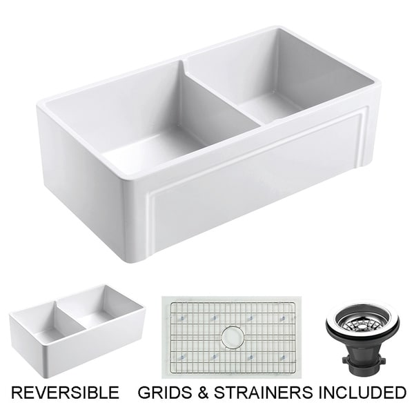 """Olde London Fireclay 33"""" L x 18"""" W Double Bowl Farmhouse Kitchen Sink with Grid & Strainer In White"""