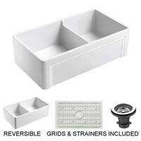 Olde London 33 in. Double Bowl Reversible Fireclay Farmhouse Kitchen Sink with Grid