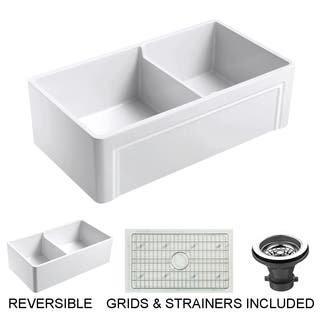 Olde London Reversible Farmhouse Fireclay 33 in. 55/45 Double Bowl Kitchen Sink in White with Grid and Strainer