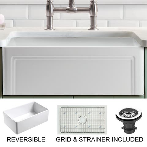 "Olde London Fireclay 30"" L x 18"" W Reversible Farmhouse Kitchen Sink with Grid & Strainer In White"