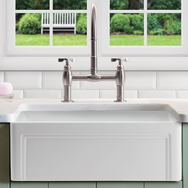 Empire Industries Olde London White Fireclay 30 Inch Single Bowl Reversible  Farmhouse Kitchen Sink With