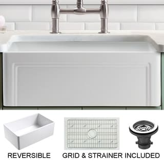 Olde London 30 in. Single Bowl Reversible Fireclay Farmhouse Kitchen Sink with Grid