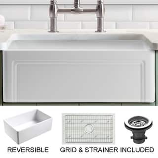 Olde London Reversible Farmhouse Fireclay 30 in. Single Bowl Kitchen Sink in White with Grid and Strainer