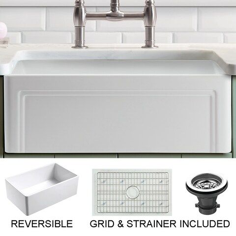 Olde London Reversible Farmhouse Fireclay 24 in. Single Bowl Kitchen Sink in White with Grid and Strainer