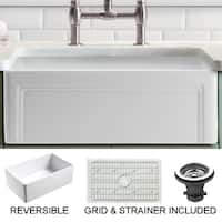 Olde London White Fireclay 24-inch x 18-inch Casement-edge-front Farmhouse Kitchen Sink and Grid