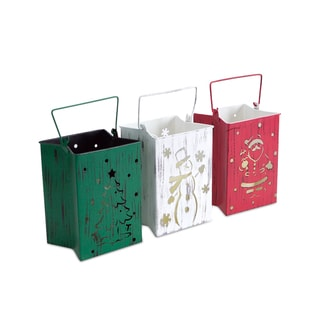 White/Red/Green Indoor/Outdoor LED Candle Lantern Luminaries (Pack of 3)