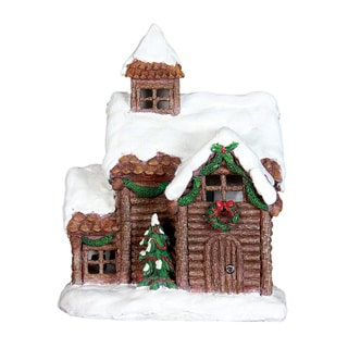 Exhart Multicolor Resin 13.5-inch Holiday Cottage with 5-hour Timer