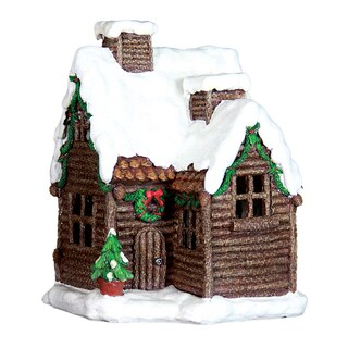 Exhart Multicolored Resin 12-inch Holiday Cottage with Timer