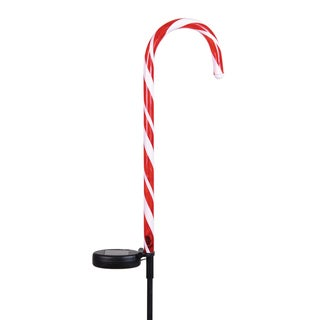 Exhart Multicolor Plastic Solar-powered Candy Cane Garden Stakes (Set of 2)