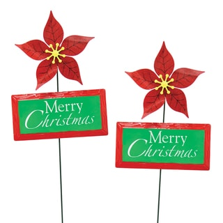 Multicolored Metal Kinetic Poinsettia with Greeting Garden Stake (Set of 2)