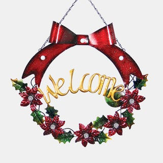 Red Bow LED Welcome Garland