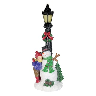 14.5-inch Battery Powered Timer Lamp Light with Snowman and Girl