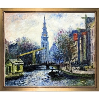 Claude Monet 'Canal in Amsterdam, 1874' Hand Painted Framed Canvas Art
