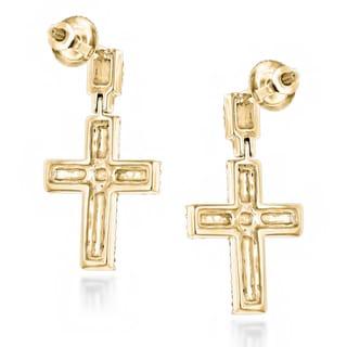 Luxurman 14k Gold 1/2ct TDW Gold Diamond Cross Earrings (H-I, I1-I2)
