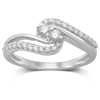 Unending Love 10K White Gold Diamond Fashion Ring
