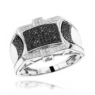 Luxurman 10k Gold Men's 1/2ct TDW Black and White Diamond Ring
