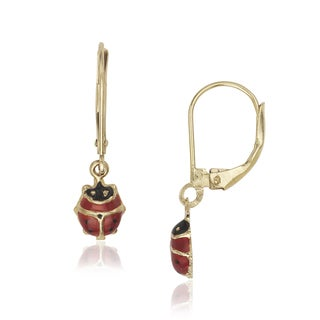 14k Yellow Gold Leverback Ladybug Enamel Earrings - Red