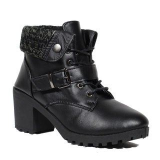 Blue Women's 'January' Black Synthetic Leather Dress Boots