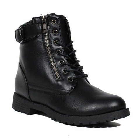 Blue Women's MILHOME Black Synthetic Leather Military-style Fashion Ankle Boots