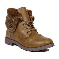 Blue Women's Milbear Black/Brown Synthetic Leather Military-style Fashion Boots