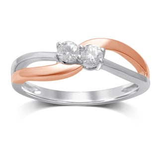 Unending Love 14K White and Rose Gold Diamond Fashion Ring