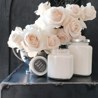 Baxter Manor - Modern Candle - Rose Pedals (8 oz Glass - Scented/Jar/Designer - Glass - White - Industrial/Country/Classic)