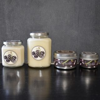 Baxter Manor Black Cherry White and Silver Candle
