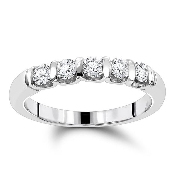 Luxurman 14k Gold 1/2ct TDW Thin Designer 5-stone Diamond Wedding Band