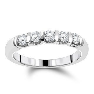 Luxurman 14k Gold 1/2ct TDW Thin Designer 5-stone Diamond Wedding Band (G-H, VS1-VS2)
