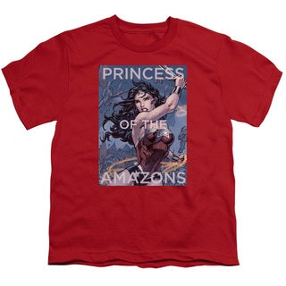 JLA/Princess Of The Amazons Short Sleeve Youth 18/1 Red