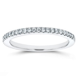 Annello 14k White Gold 1/6ct TDW Micro-prong Diamond Wedding Band (G-H, I1-I2)