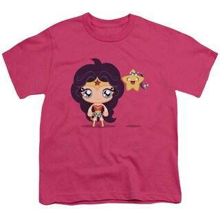 JLA/Cute Wonder Woman Short Sleeve Youth 18/1 Hot Pink
