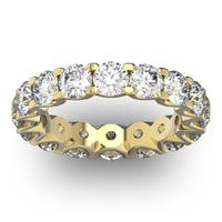 14 Karat Yellow Gold 4 Carat Diamond Eternity Ring - White I-J