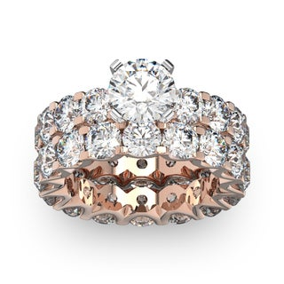 14 Karat Rose Gold 9 Carat Diamond Eternity Engagement Ring With Matching Band (I-J, I1-I2)