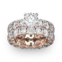 14k Rose Gold 9ct. Diamond Eternity Engagement Ring and Matching Band with 1 1/2ct. Clarity Enhanced - White I-J