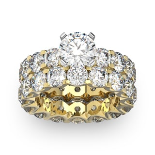 14 Karat Yellow Gold 9 Carat Diamond Eternity Engagement Ring With Matching Band (I-J, I1-I2)