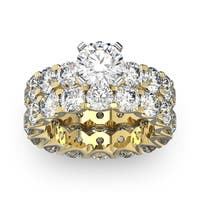 14k Yellow Gold 9ct. Diamond Eternity Engagement Ring and Matching Band with 1 1/2ct. Clarity Enhanc - White I-J