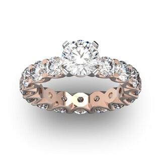 14 Karat Rose Gold 5 Carat Diamond Eternity Engagement Ring With 1 1/2 Carat Round Brilliant Center (I-J, I1-I2)