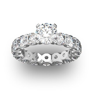 14 Karat Yellow Gold 5 Carat Diamond Eternity Engagement Ring With 1 1/2 Carat Round Brilliant Center (I-J, I1-I2)