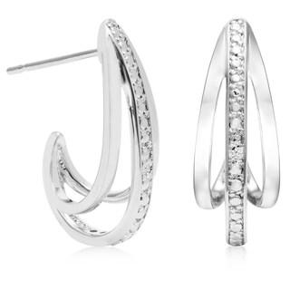 Diamond Accent J Hoop Earrings, 3/4 Inch