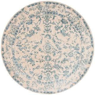 Lucca Floral Ivory/ Aqua Rug (7'10 x 7'10 Round)