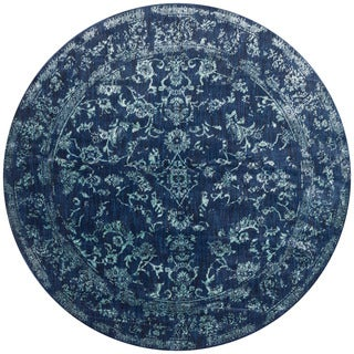 Lucca Floral Navy/ Aqua Rug (7'10 x 7'10 Round)