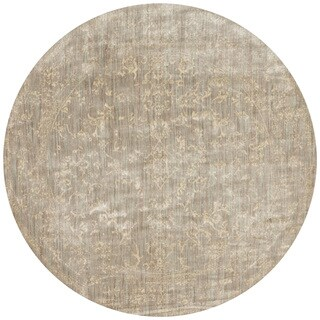 Lucca Floral Stone/ Ivory Rug (7'10 x 7'10 Round)