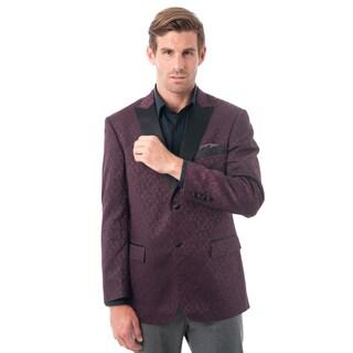Men's Burgundy Textured Tuxedo Jacket with Satin Peak Lapel (More options available)