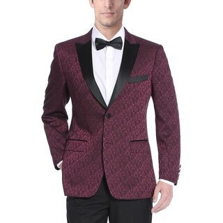 Men's Burgundy Textured Tuxedo Jacket with Satin Peak Lapel
